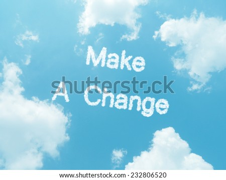 cloud words with design on blue sky background - stock photo
