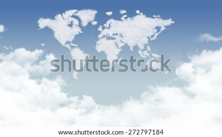 Cloud world map - stock photo