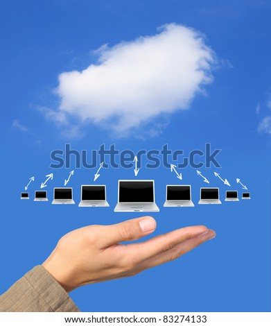 cloude computing network on hand - stock photo