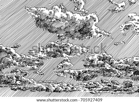 Line Art Illustration Style : Clouded sky view black white dashed stock illustration 705927409