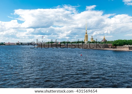 Clouds above Peter and Paul Fortress, St. Petersburg, Russia. Long-range view. - stock photo