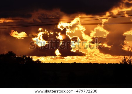 clouds against the setting sun