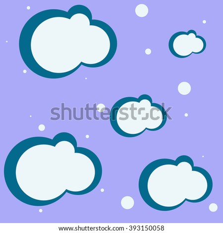 clouds and bubbles over blue background, abstract art illustration