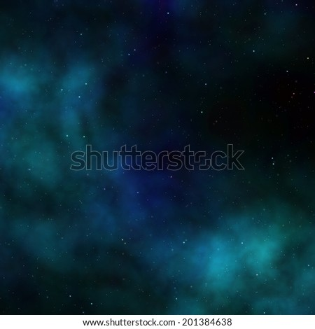 clouds and far stars in dark space - stock photo