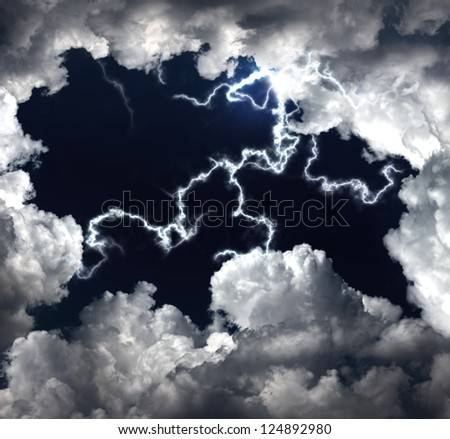 clouds and lightning - stock photo