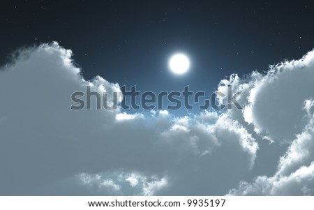 clouds and moon in the night 2 - stock photo