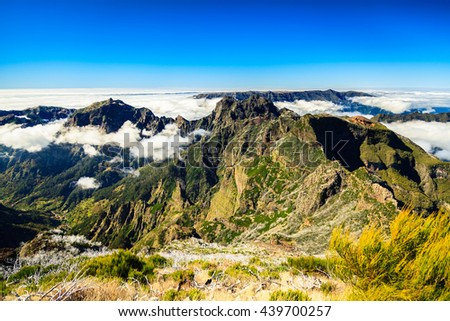 clouds and peaks at the top of the highest mountain of Madeira - Pico Ruivo, Portugal