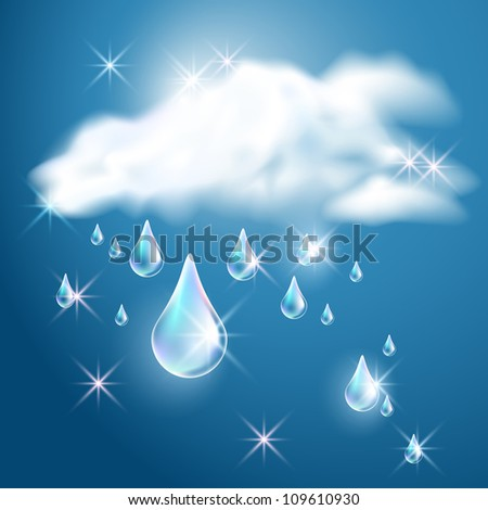 Clouds and rain in the dark blue sky. Raster version of vector. - stock photo