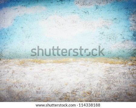 clouds and sea waves  on old paper texture background. grunge effect - stock photo