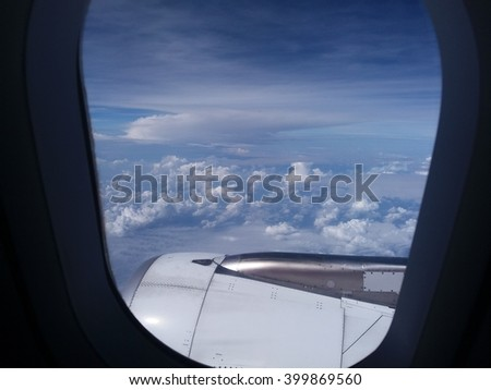 Clouds And Sky As Seen Through Window Of An Aircraft.Slightly Poor Lighting.