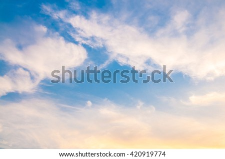 Clouds and sky at sunset.background.