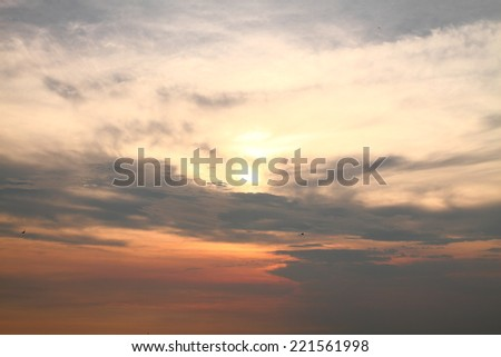 Clouds and sky at sunset in the sea