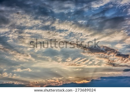 Clouds and sky at sunset / sunrise - stock photo
