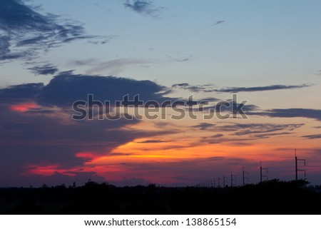 Clouds and sky beautiful sunsets in the evening rice rural Thailand. - stock photo
