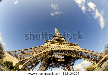 Clouds and Sky Colors above Eiffel Tower, Paris