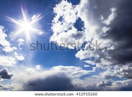Clouds and sky on a sunny day - stock photo