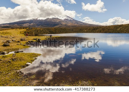 Clouds and sky reflected in Laguna Santo Domingo in the Cotopaxi National Park