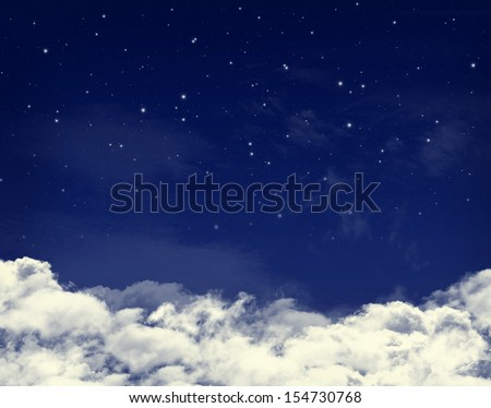 Clouds and stars in a night blue sky background - stock photo