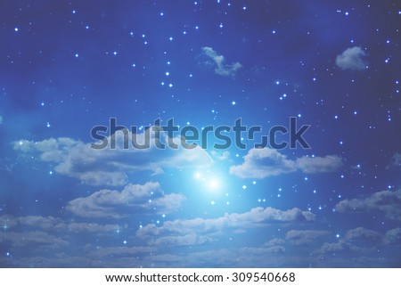 Clouds and stars. My astronomy work. No elements of NASA or other third party. - stock photo