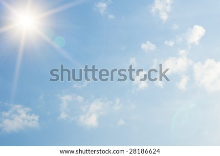 clouds and sun in the sky - stock photo