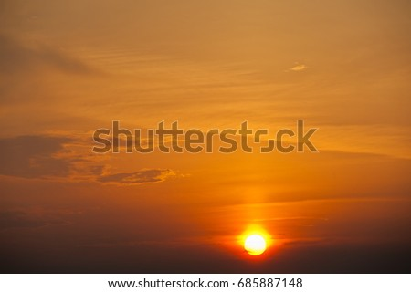 Clouds and sun in the sky (beautiful sunset)