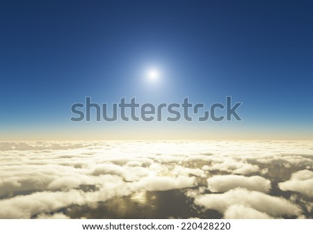 Clouds and sunset on the horizon  - stock photo