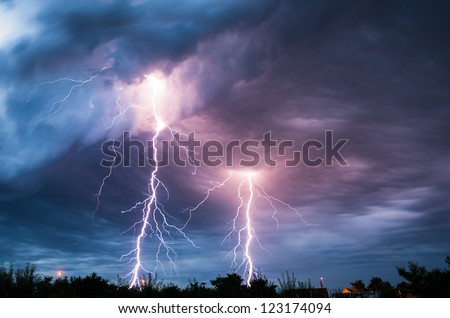 clouds and thunder lightnings and storm - stock photo
