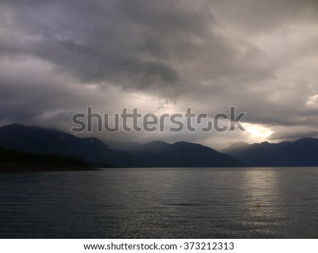 clouds at a lake in Chile