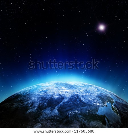 Clouds atmosphere from space. Elements of this image furnished by NASA - stock photo