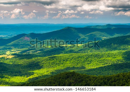 Clouds cast shadows over the Appalachian Mountains, seen from Skyline Drive in Shenandoah National Park, Virginia. - stock photo