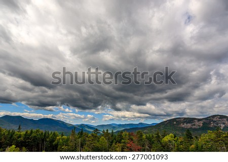 Clouds casts shadows over a New Hampshire landscape