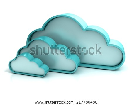 Clouds 3d computer icon isolated  - stock photo