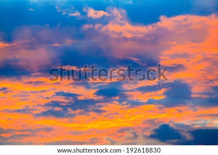 Clouds glowing red from the sunset, Stowe, Vermont, USA