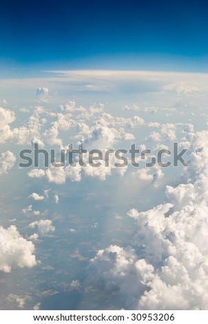 Clouds in flight over Puerto Rico - stock photo