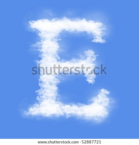 Clouds in shape of the letter E - stock photo