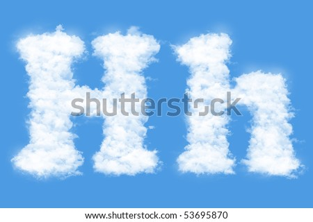 Clouds in shape of the letter H - stock photo