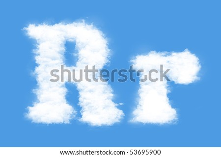 Clouds in shape of the letter R - stock photo