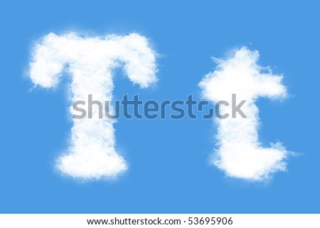 Clouds in shape of the letter T - stock photo