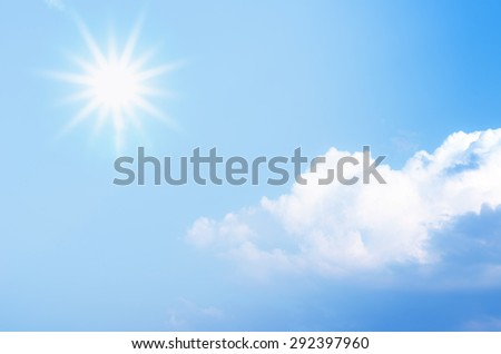Clouds in the blue sky and sun