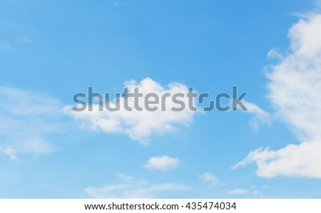 clouds in the blue sky, sky background in pastel tone with copy space - stock photo