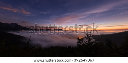 Clouds in the valley at sunrise