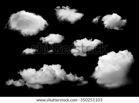clouds isolated on black background