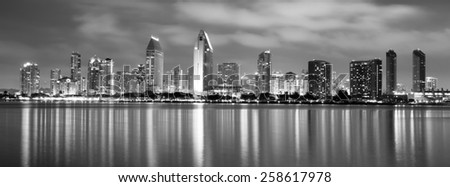 Clouds look ominous over San Diego, California - stock photo