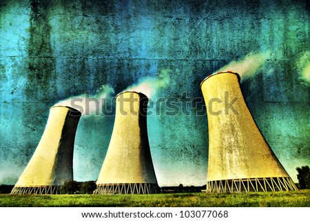 Clouds Makers I, power plant cooling towers - stock photo
