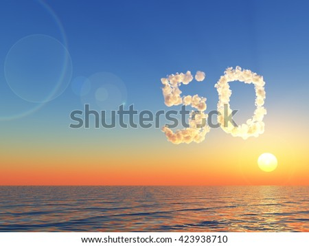 clouds makes the shape of number fifty over water - 3d illustration - stock photo