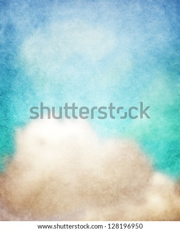 clouds on a textured paper background - stock photo