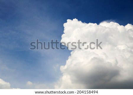 Clouds on blue sky background. - stock photo