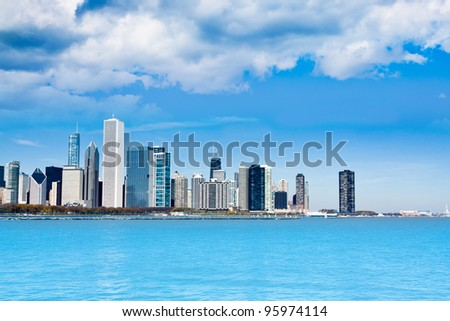 Clouds on Finance District - stock photo