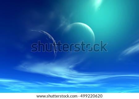 Clouds on sky of stranger planet, 3D illustration