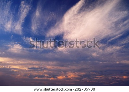 Clouds on sunset sky